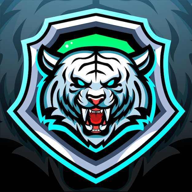 Design del logo esport della mascotte della tigre bianca