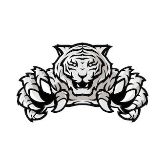 Logo bianco di gioco di sport della tigre