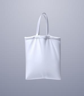 Borsa bianca. illustrazione 3d design riutilizzabile della borsa in tessuto. borsa shopping in tela realistica. concetto di eco