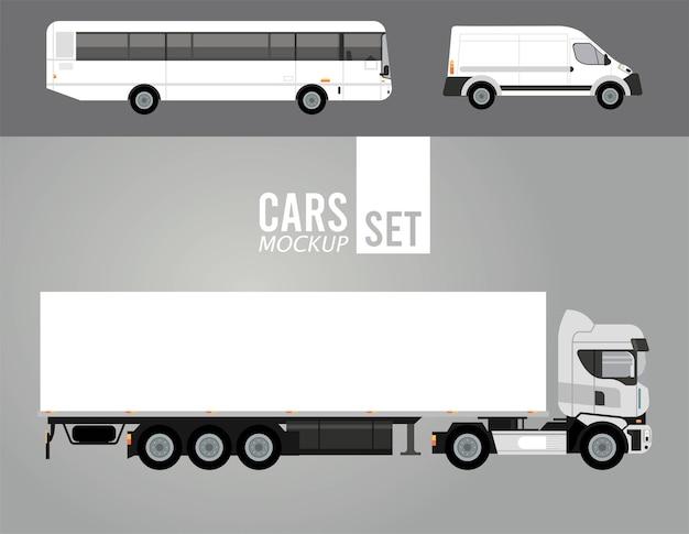 Camion bianco e autobus con veicoli di auto mini van mockup
