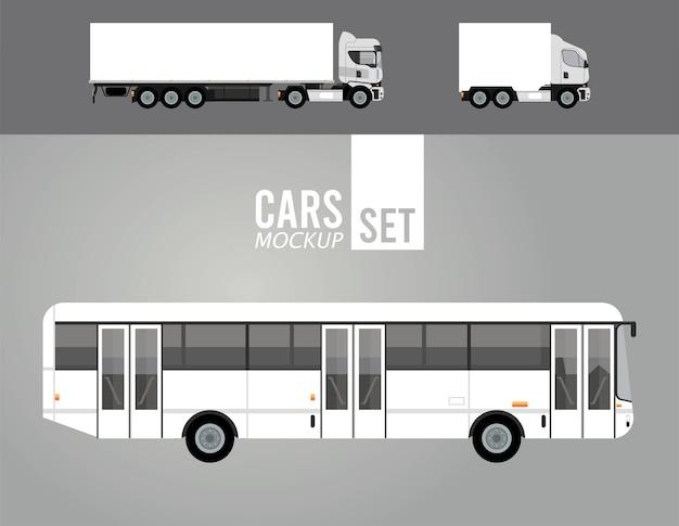 Camion bianchi e veicoli per auto mockup di autobus