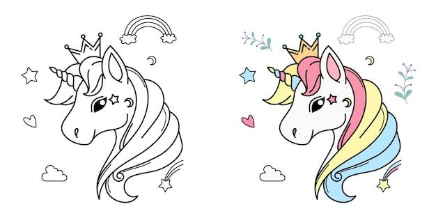 Testa di unicorno bianco per bambini design isolato.