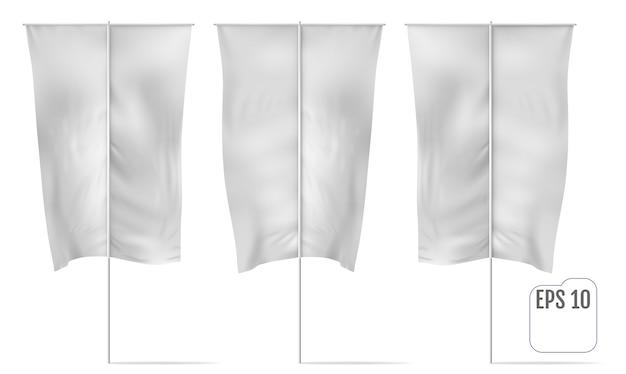 Bandiera banner tandeb universale bianca. mockup realistico di bandiera banner con pieghe e montaggio. vettore