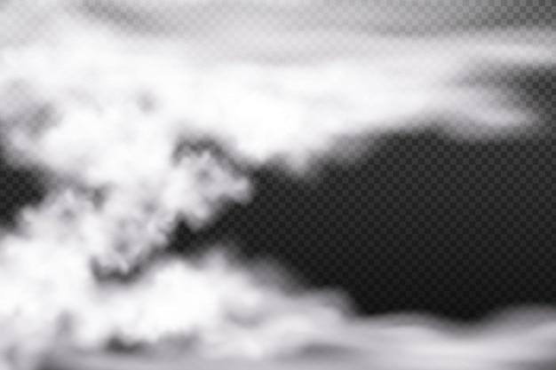 Nebbia o fumo di nuvolosità bianca vettoriale su sfondo a scacchi scuro