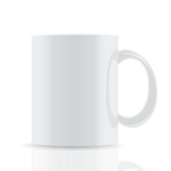 Tazza bianca vettoriale isolata su sfondo bianco