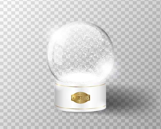 Modello vuoto del globo della neve di vettore bianco isolato su trasparente