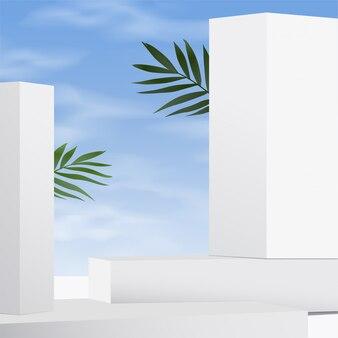 Mockup di scena di muro bianco astratto minimo con il cielo