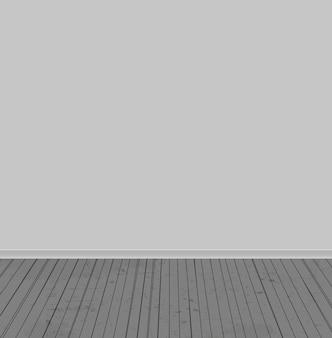 Le pareti bianche e il vecchio pavimento in legno. illustrazione vettoriale