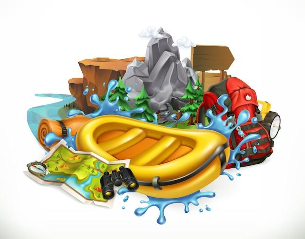 Rafting sulle rapide. campeggio, illustrazione del tempo di avventura