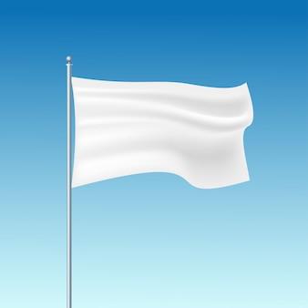 Modello di bandiera sventolante bianco.