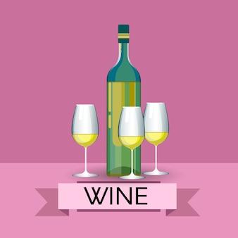 Bottiglia di vino bianco con i vetri icona della bevanda dell'alcool