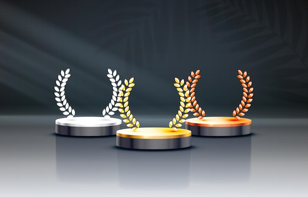 Podio bianco dei vincitori per i concetti di business podio set oggetto vettoriale