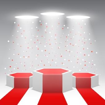 Podio dei vincitori bianco con tappeto rosso e coriandoli. palco per la cerimonia di premiazione. piedistallo. illustrazione.