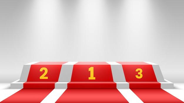 Podio bianco dei vincitori con tappeto rosso. palco per la cerimonia di premiazione. piedistallo con faretti. illustrazione.