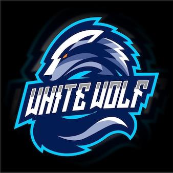 Modello di logo di gioco del lupo bianco e sport