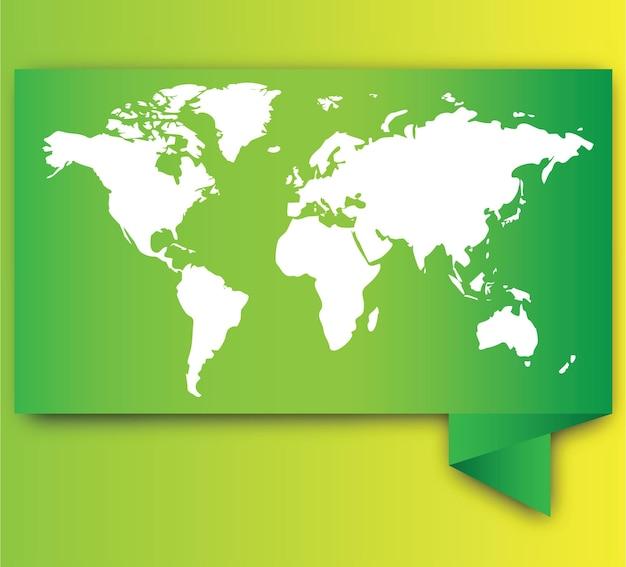Mappa del mondo bianca su verde