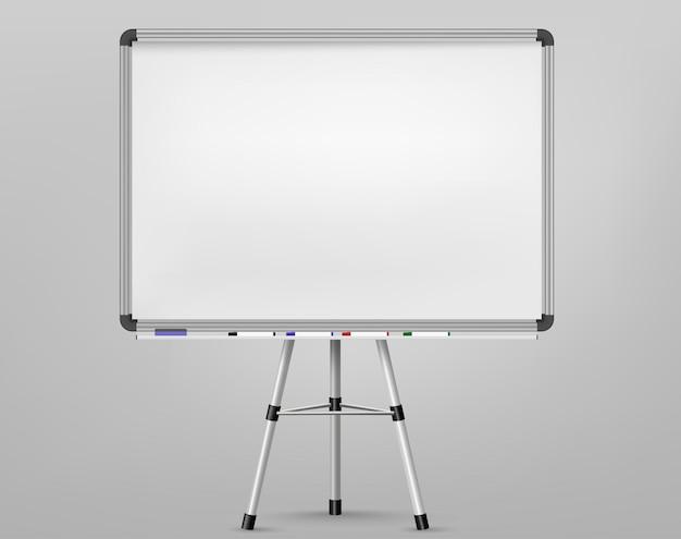 Lavagna bianca per pennarelli su treppiede. schermo di proiezione vuoto, lavagna per presentazioni, lavagna bianca vuota per conferenza. cornice di sfondo bordo ufficio. vettore