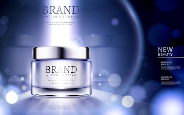 Annunci di crema sbiancante, annunci di prodotti cosmetici con particelle e forte luce sul contenitore nell'illustrazione