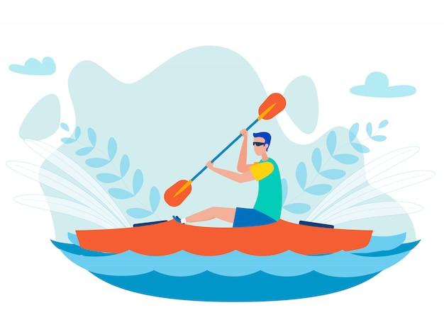 Illustrazione piana di vettore di sport di kayak di whitewater