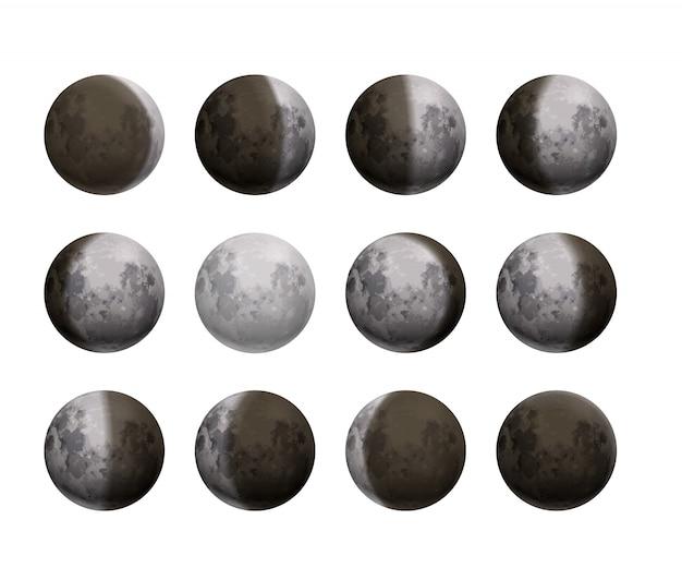 L'intero ciclo di fasi lunari da luna nuova a satelliti dettagliati e realistici dettagliati su bianco