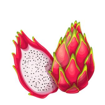Frutti di pitaya rosso intero e mezzo in stile cartone animato.