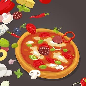 Pizza integrale e gli ingredienti per la pizza. illustrazione di stile piano di vettore isolato.