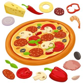 Pizza intera e gli ingredienti per la pizza vettore isolato stile piatto illustrazione