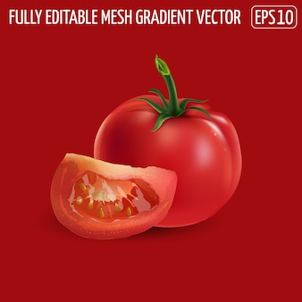 Pomodoro intero rosso con una fetta su fondo rosso.