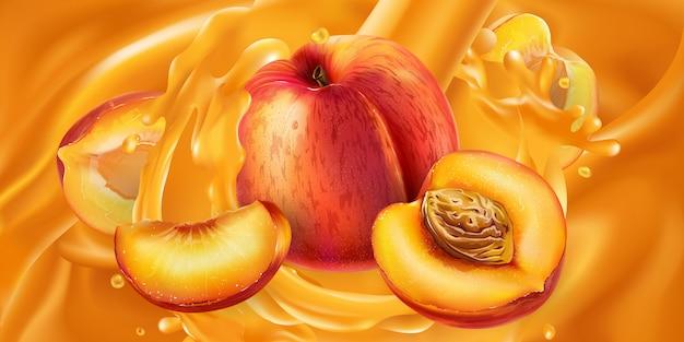 Pesche intere e tagliate in succo di frutta.