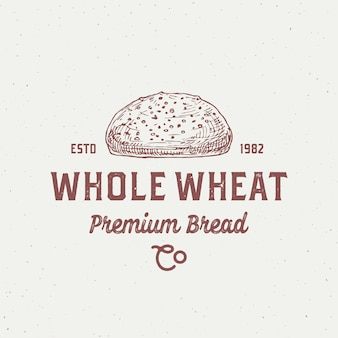 Pane integrale logo modello pagnotta disegnata a mano e tipografia retrò panetteria locale concept