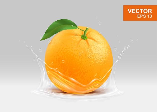 Intero arancio giallo con elemento di design 3d realistico spruzzi d'acqua.