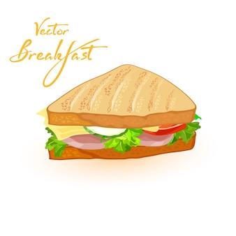 Pane integrale con ingredienti lattuga formaggio cetriolo pomodoro e pancetta