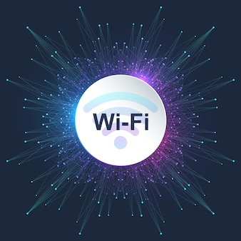 Concetto di connessione wireless wi-fi. segno dell'icona wi-fi wireless per l'accesso a internet remoto. concetto di internet della tecnologia del segnale di rete wireless wi-fi. internet ad alta velocità. illustrazione vettoriale.