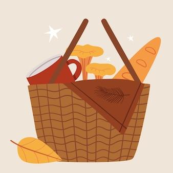 Cestino di vimini per un picnic autunnale baguette plaid tazza di funghi umore autunnale illustrazione carina