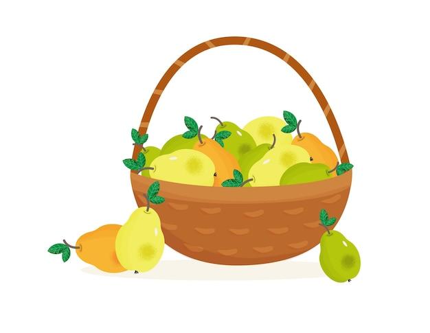 Cestino di vimini con pere fresche mature pere verdi e gialle nel baslet tempo di raccolta