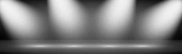 Fondo moderno della vetrina dello studio di ampia pendenza con le luci