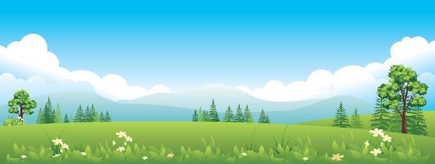 Ampio panorama orizzontale del paesaggio estivo