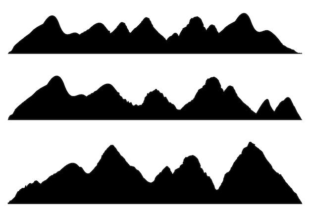 Ampie sagome panoramiche semidettagliate di montagne di altopiani, paesaggi rocciosi fila di montagne