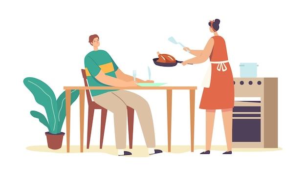 Moglie che serve il tavolo per il marito
