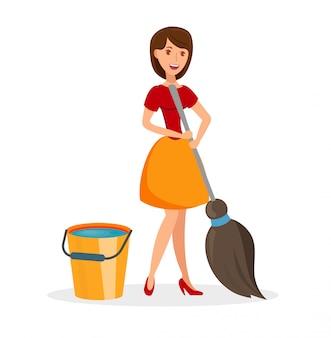 Moglie con l'illustrazione piana di vettore degli strumenti di pulizia