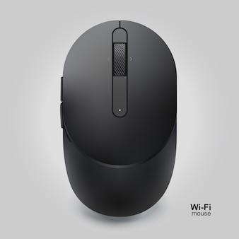 Mouse wifi nero con rotella isolato su sfondo grigio