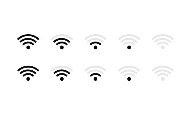 Icona del segnale wi-fi impostata in nero. internet. vettore env 10. isolato su priorità bassa bianca.