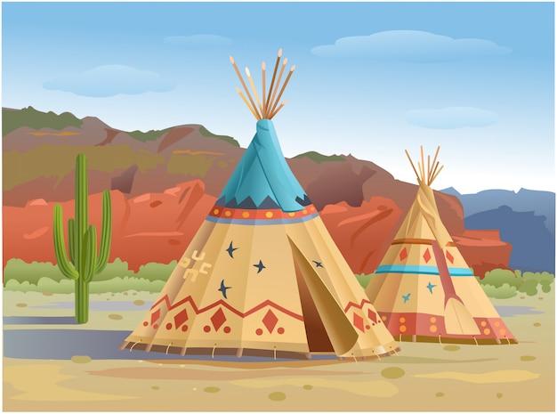 Wigwam e tipi indiani nelle montagne d'america