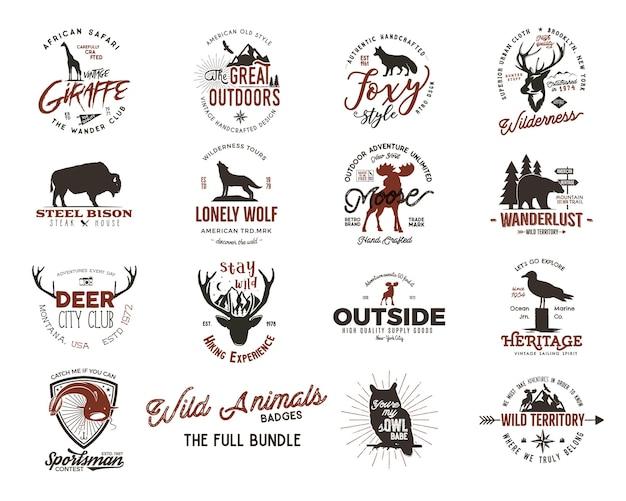 Set di distintivi di animali selvatici e insegne di grandi attività all'aperto. illustrazione retrò di distintivi animali. tipografia stile campeggio. loghi di distintivi animali vettoriali con effetto tipografico. citazioni personalizzate dell'esploratore