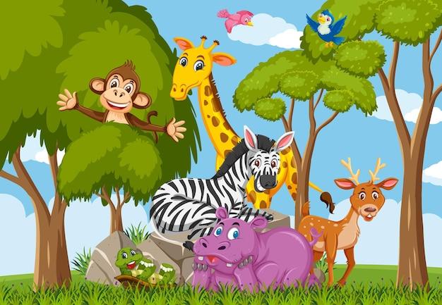 Personaggio dei cartoni animati del gruppo di animali selvatici nella foresta