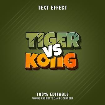 Effetto di testo tiger kong animale selvatico