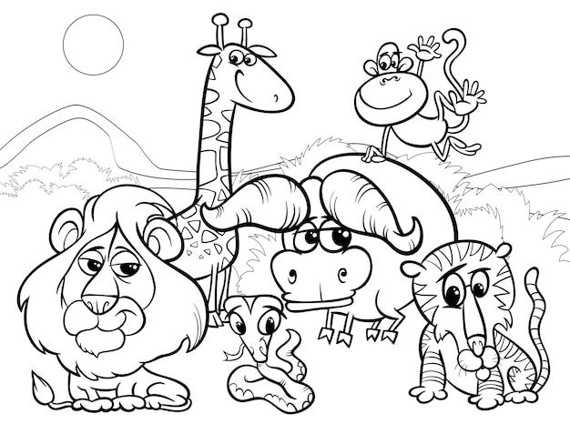 Pagina da colorare di animali selvaggi del fumetto