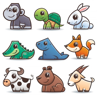Set di cartoni animati di animali selvatici