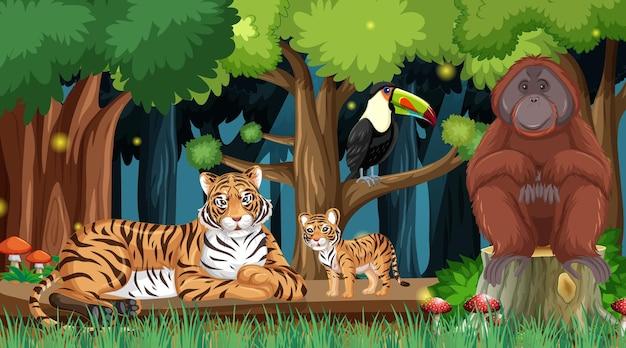 Animali selvatici sullo sfondo del paesaggio della foresta