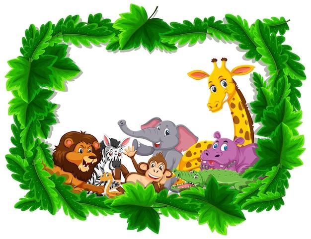 Gruppo di animali selvatici nella cornice della foresta